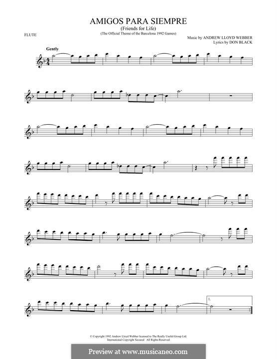 Amigos Para Siempre (Friends for Life): para flauta by Andrew Lloyd Webber