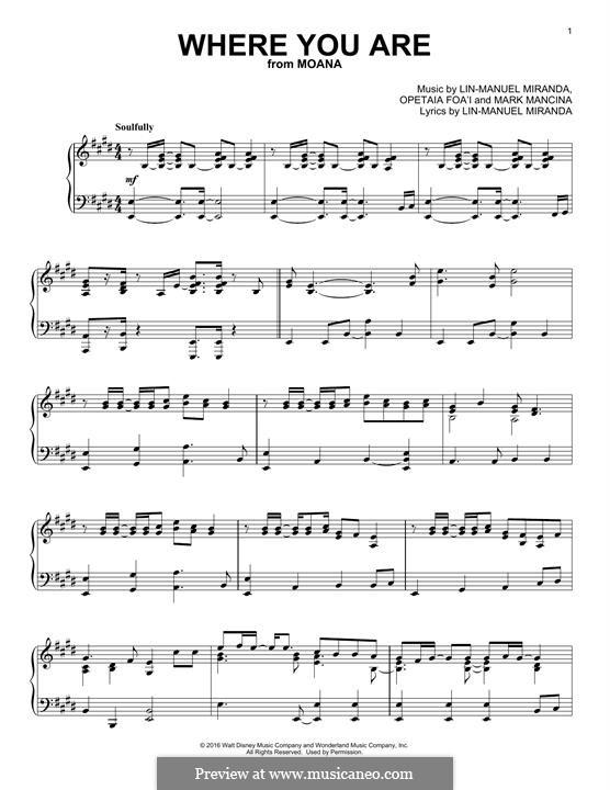 Where You Are (from Moana): Para Piano by Lin-Manuel Miranda, Mark Mancina, Opetaia Foa'i