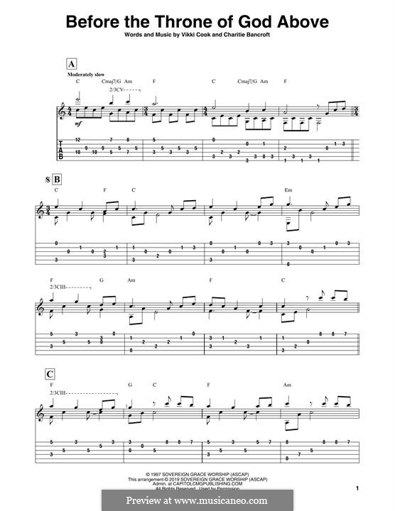 Before the Throne of God Above: Para Guitarra by Vickie Cook