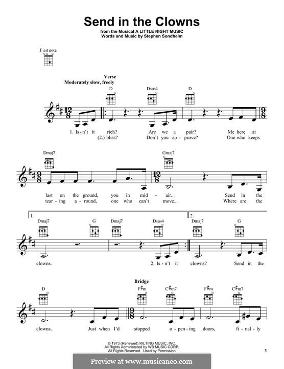 Send in the Clowns (from A Little Night Music): para ukulele by Stephen Sondheim