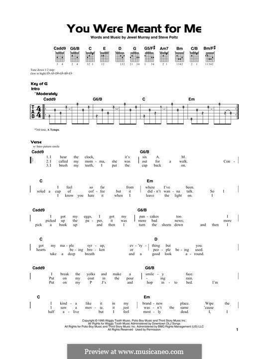 You Were Meant for Me (Jewel): Para Guitarra by Jewel Kilcher, Steve Poltz