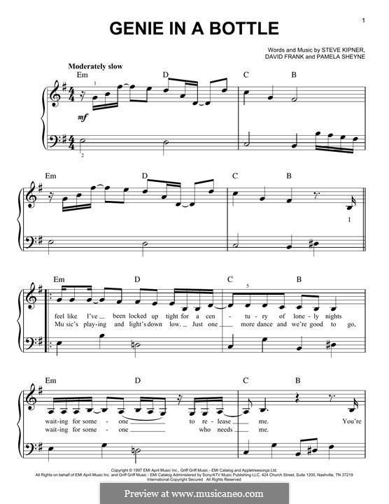 Genie in a Bottle (Christina Aguilera): Para Piano by David Frank, Pamela Sheyne, Stephen Alan Kipner