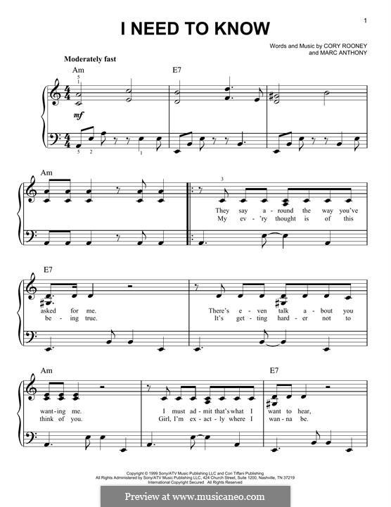 I Need to Know (Marc Anthony): Facil para o piano by Cory Rooney