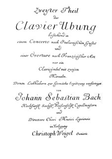 Italian Concerto and Overture in the French Style, BWV 831, 971: Italian Concerto and Overture in the French Style by Johann Sebastian Bach