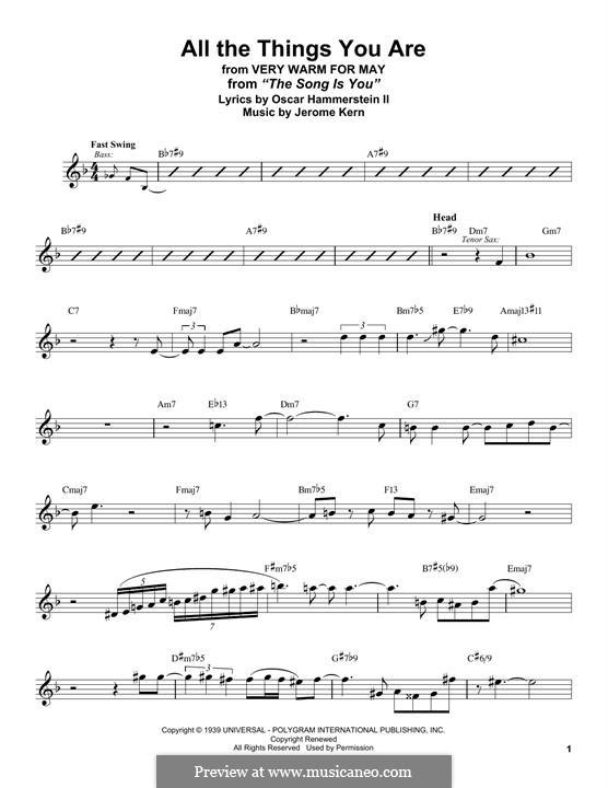 Instrumental version: para Saxofone Alto by Jerome Kern