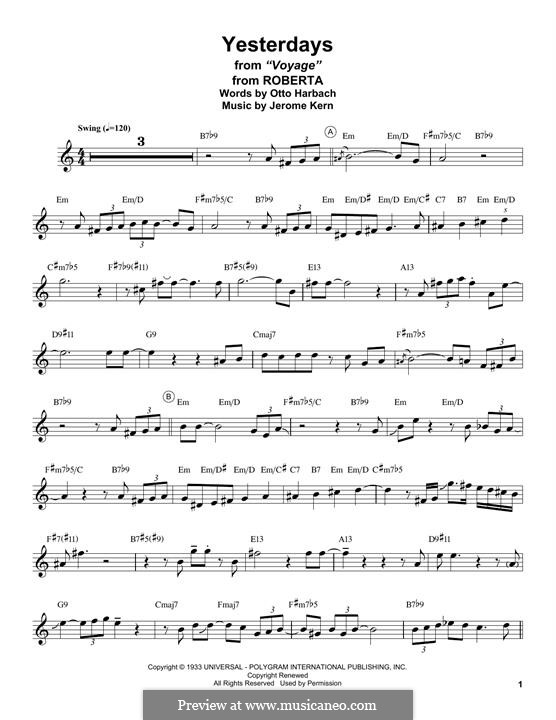 Yesterdays: para saxofone tenor by Jerome Kern
