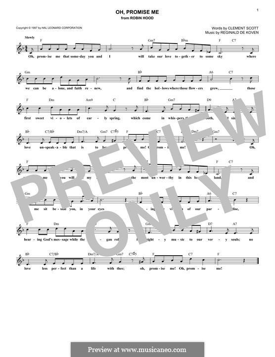 Oh Promise Me, Op.50: para teclado by Reginald De Koven