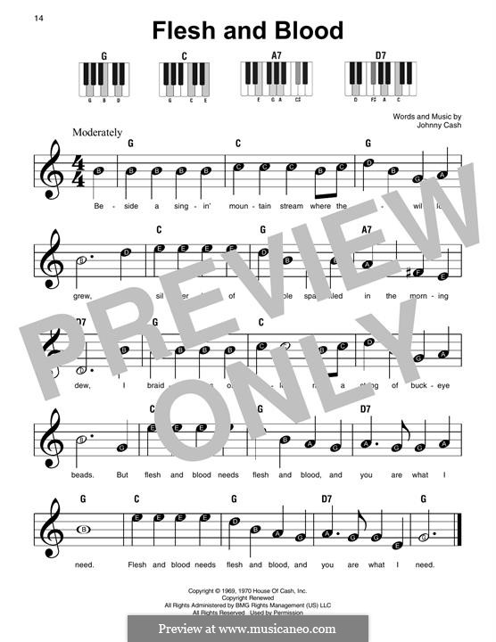 Flesh and Blood: Para Piano by Johnny Cash