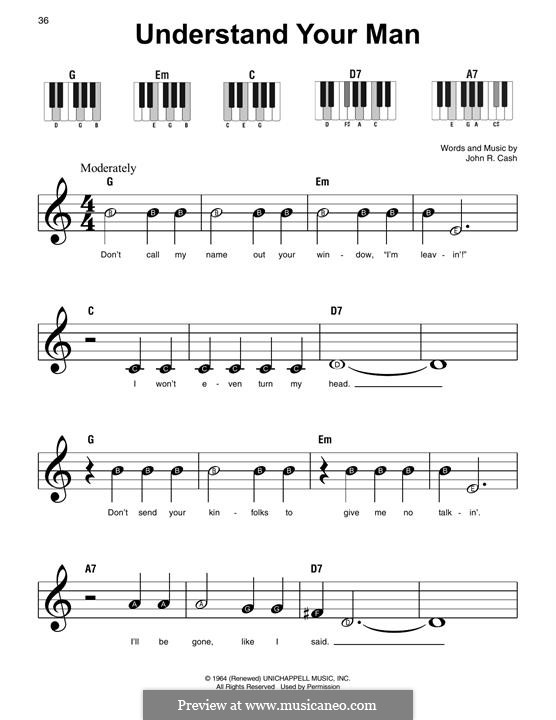 Understand Your Man: Para Piano by Johnny Cash