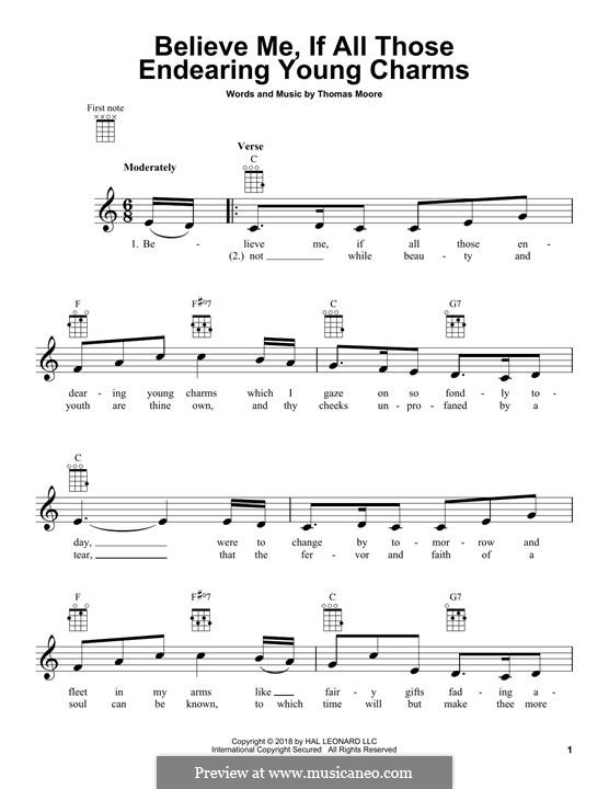 Believe Me, if All Those Endearing Young Charms: para ukulele by Thomas Moore