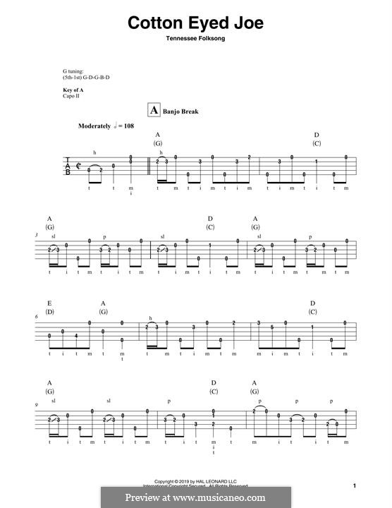 Cotton Eyed Joe: For banjo by folklore