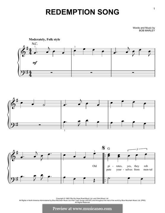 Redemption Song: Para Piano by Bob Marley