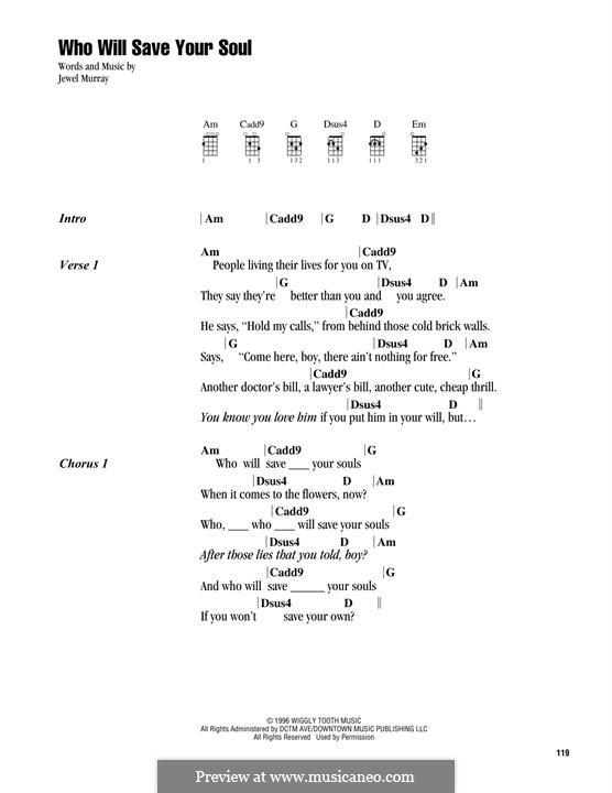 Who Will Save Your Soul (Jewel): para ukulele by Jewel Kilcher