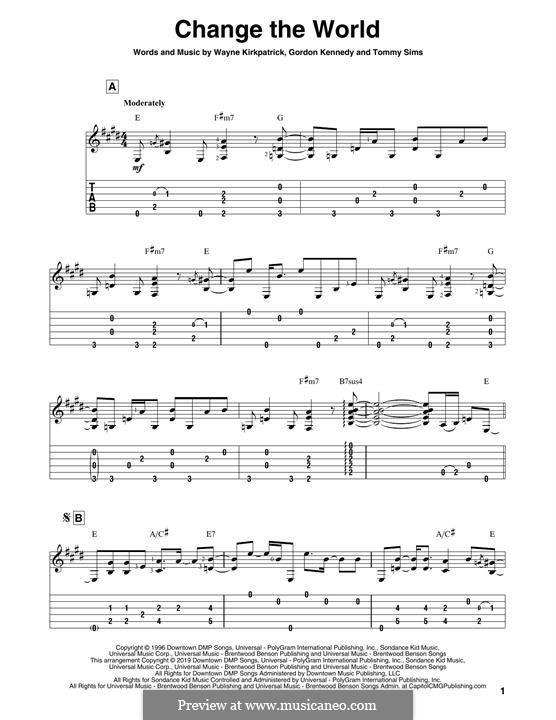 Change the World (Eric Clapton and Wynonna): Para Guitarra by Gordon Kennedy, Tommy Sims, Wayne Kirkpatrick