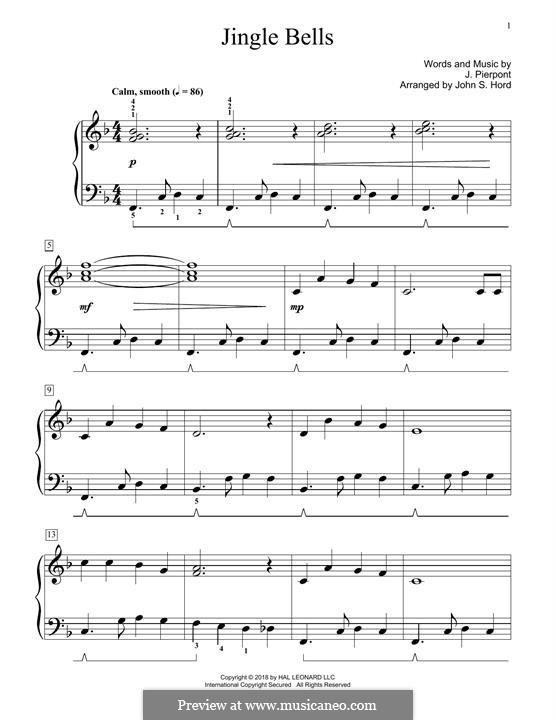 Piano version (printable scores): para um único musico (Editado por H. Bulow) by James Lord Pierpont