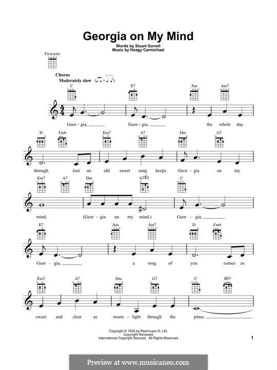 Georgia on My Mind: para ukulele by Hoagy Carmichael