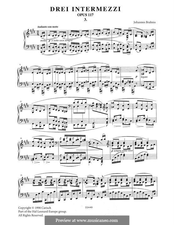 Three Intermezzos, Op.117: Intermezzo No.3 by Johannes Brahms