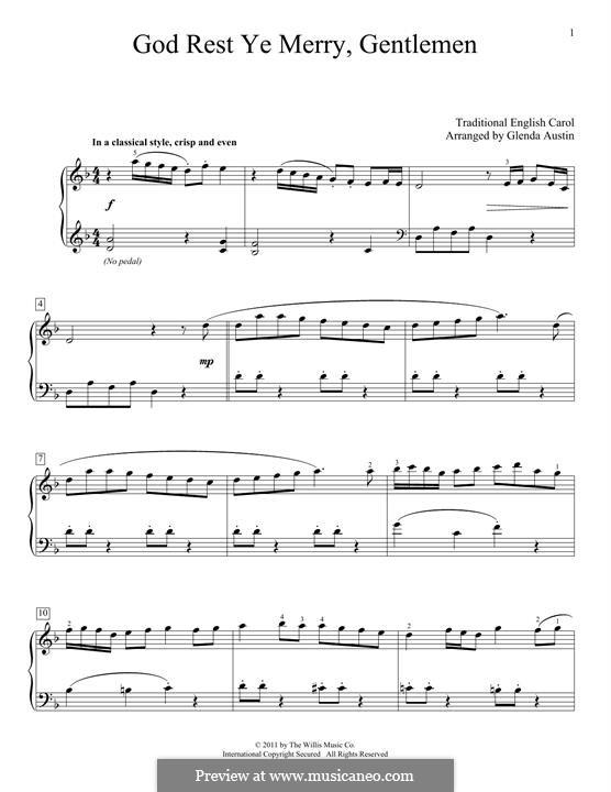 God Rest You Merry, Gentlemen, for Piano: para um único musico (Editado por H. Bulow) by folklore