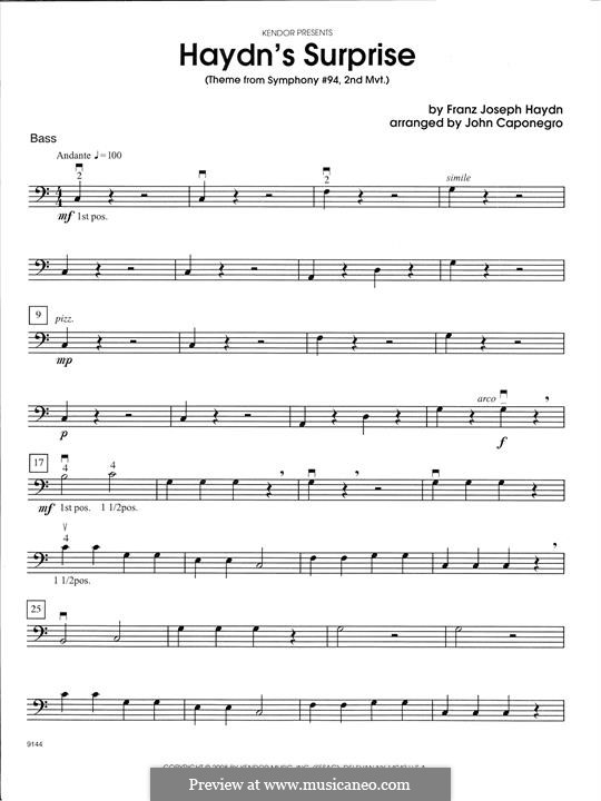 Movement II: Theme, for strings - Bass part by Joseph Haydn