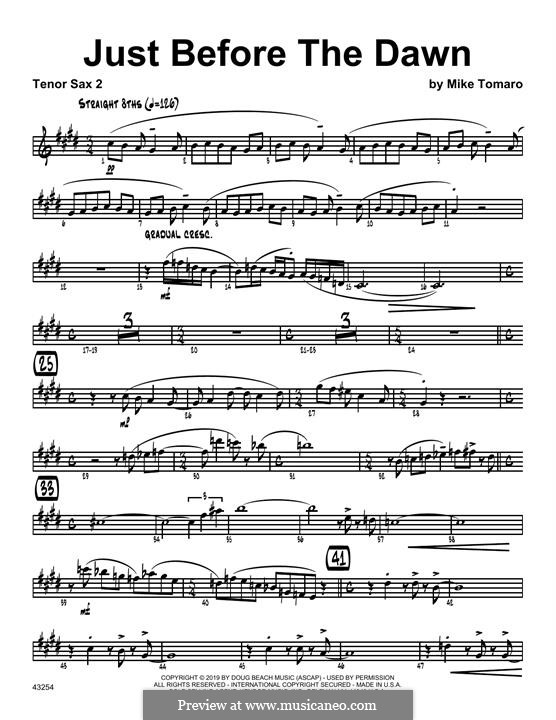 Just Before the Dawn: 2nd Bb Tenor Saxophone part by Mike Tomaro