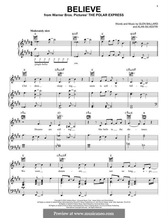 Believe (Josh Groban): Para vocais e piano (ou Guitarra) by Alan Silvestri, Glen Ballard