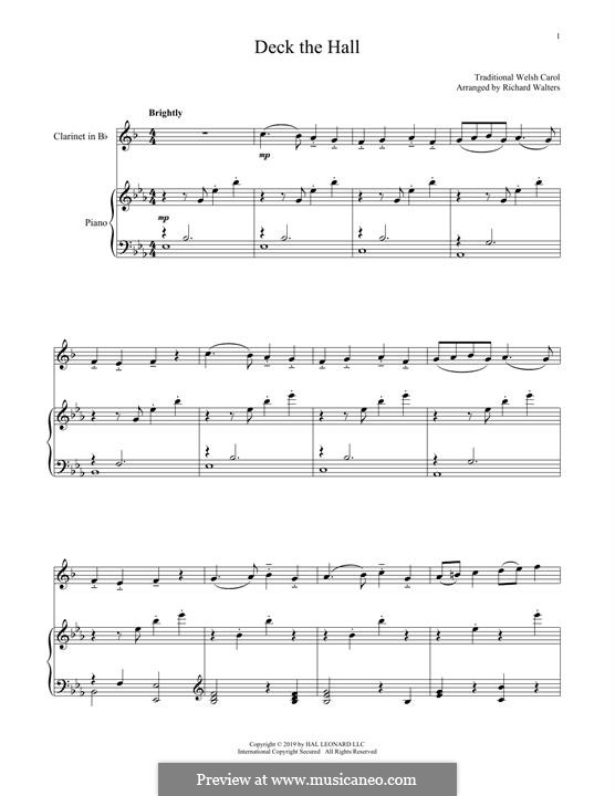 Deck the Hall (Printable): para clarinete e piano by folklore