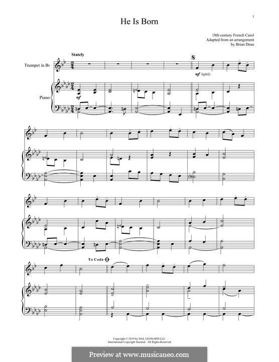 He is Born, the Holy Child (Il est ne, le divin enfant): para trompeta e piano by folklore