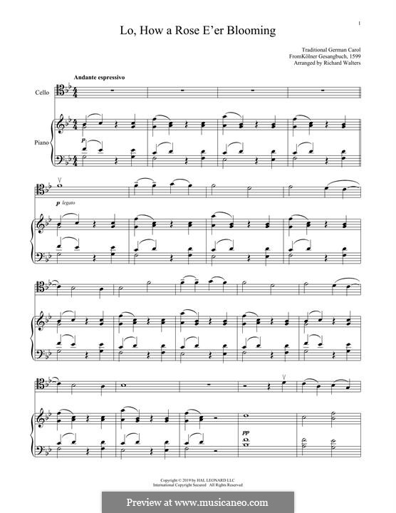 Lo, How a Rose E'er Blooming: para Violoncelo e piano by folklore
