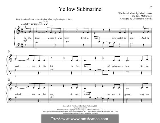 Yellow Submarine (The Beatles): para piano de quadro mãos by John Lennon, Paul McCartney