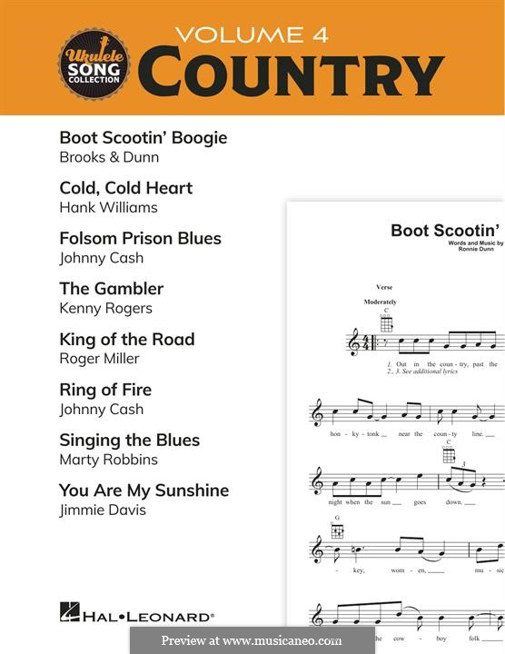 Ukulele Song Collection, Volume 4: Country (Various): Ukulele Song Collection, Volume 4: Country (Various) by Hank Williams, Johnny Cash, Kenny Rogers, Roger Miller