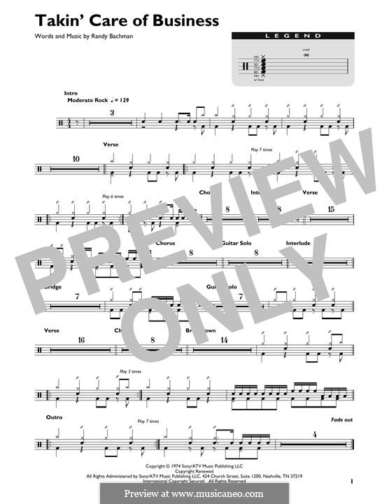 Takin' Care of Business (Bachman-Turner Overdrive): Drum set by Randy Bachman