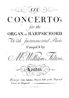 Six Concertos for Organ (or Harpsichord) and Orchestra, Op.1: violino parte II by William Felton