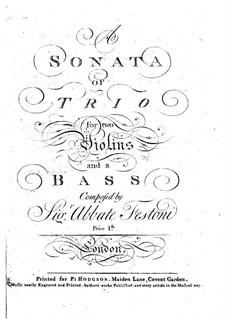 Sonata (or Trio) for Two Violin and Cello in E Flat Major: violino parte I by Festoni