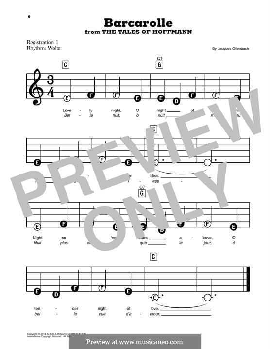 Barcarolle (Printable Scores): versão para piano by Jacques Offenbach