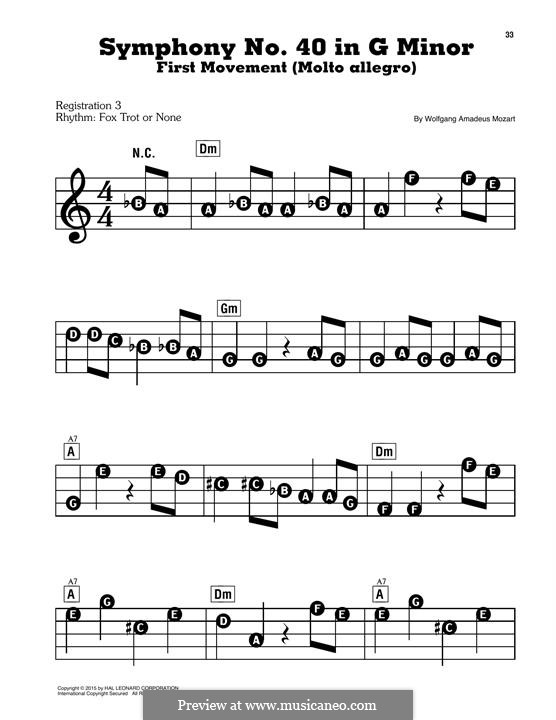 Movement I: Excerpt, for easy piano by Wolfgang Amadeus Mozart