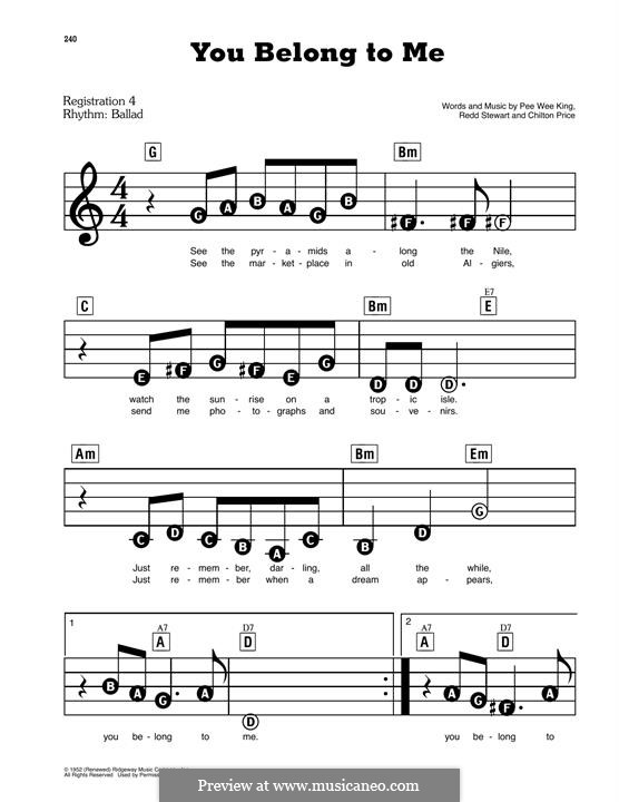 You Belong To Me (Patsy Cline): Para Piano by Chilton Price, Pee Wee King, Redd Stewart