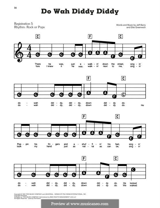 Do Wah Diddy Diddy (Manfred Mann): Facil para o piano by Ellie Greenwich, Jeff Barry