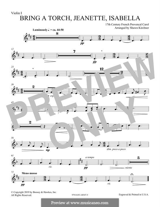 Bring a Torch, Jeannette Isabella: Violin 1 part by folklore