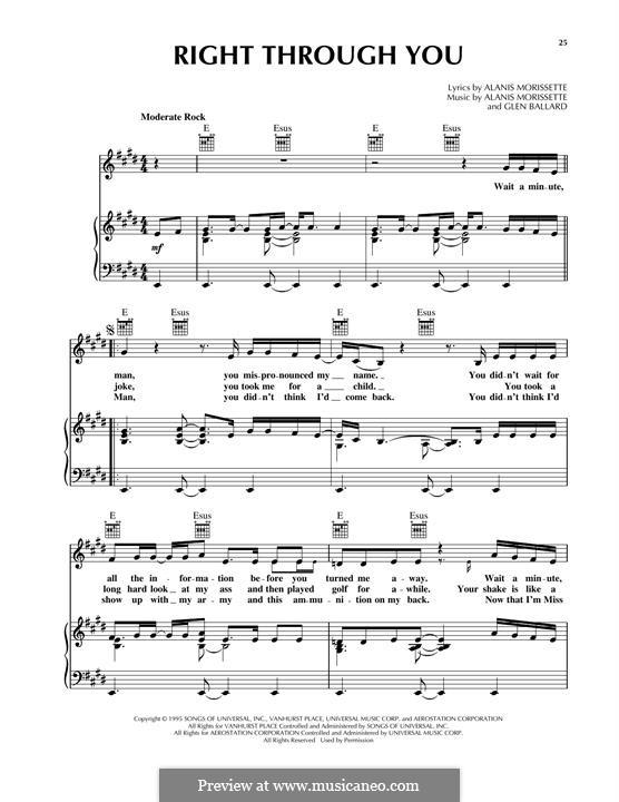 Right Through You: Para vocais e piano (ou Guitarra) by Alanis Morissette, Glen Ballard