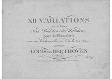 Twelve Variations on 'The Magic Flute' by Mozart, Op.66: For cello (or violin) and piano by Ludwig van Beethoven