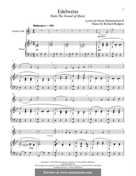 Edelweiss (from The Sound of Music): para clarinete e piano by Richard Rodgers