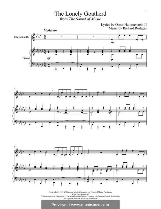 The Lonely Goatherd (from The Sound of Music): para clarinete e piano by Richard Rodgers