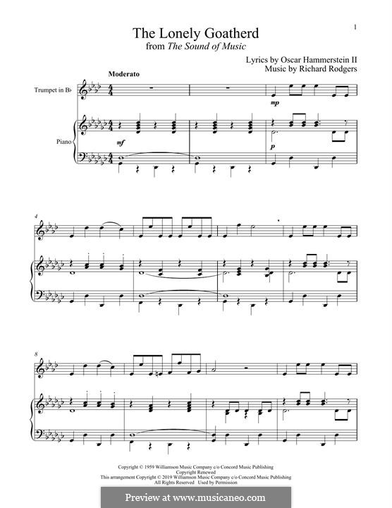 The Lonely Goatherd (from The Sound of Music): para trompeta e piano by Richard Rodgers