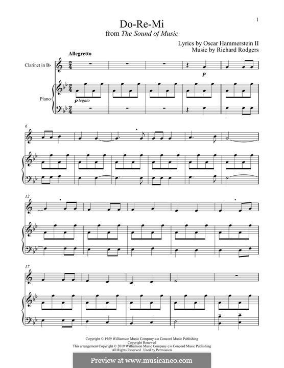 Do-Re-Mi (from The Sound of Music): para clarinete e piano by Richard Rodgers