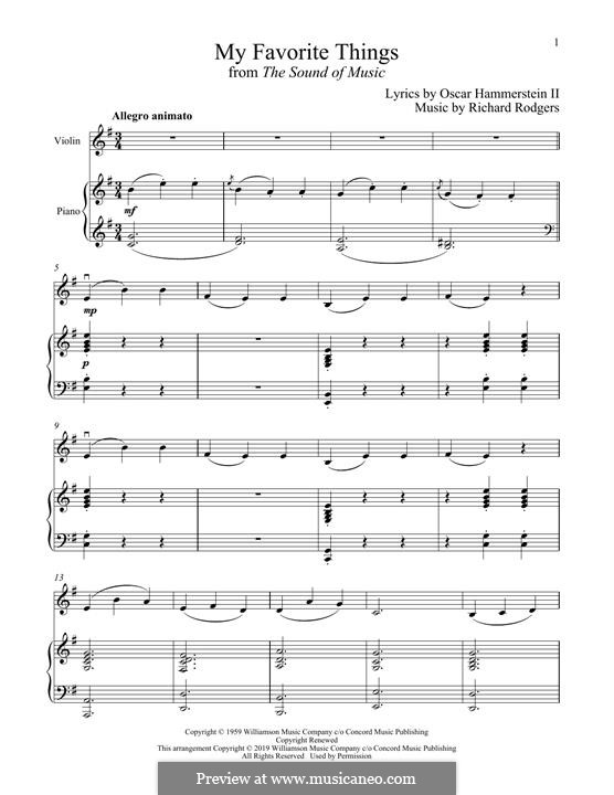 My Favorite Things (from The Sound of Music): para violino by Richard Rodgers
