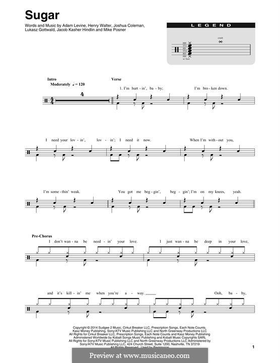 Sugar (Maroon 5): Drum set by Adam Levine, Jacob Kasher Hindlin, Joshua Coleman, Lukas Gottwald, Mike Posner, Henry Russell Walter