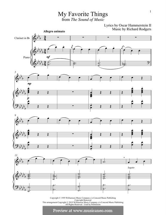 My Favorite Things (from The Sound of Music): para clarinete e piano by Richard Rodgers