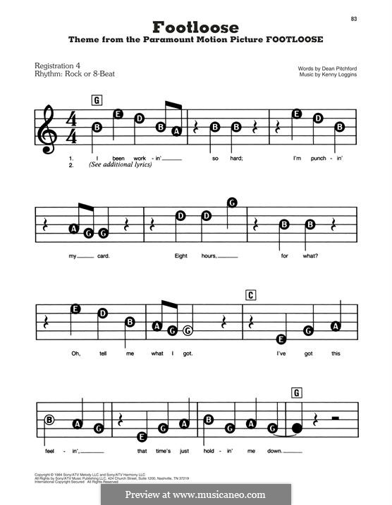 Footloose: Para Piano by Kenny Loggins
