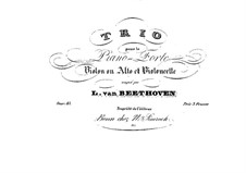 Sextet in E Flat Major, Op.81b: Version for violin (or viola), cello and piano – piano part by Ludwig van Beethoven
