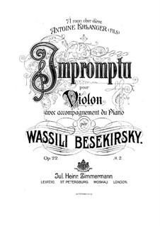 Impromptu for Violin and Piano, Op.22: Score by Vasily Bezekirsky